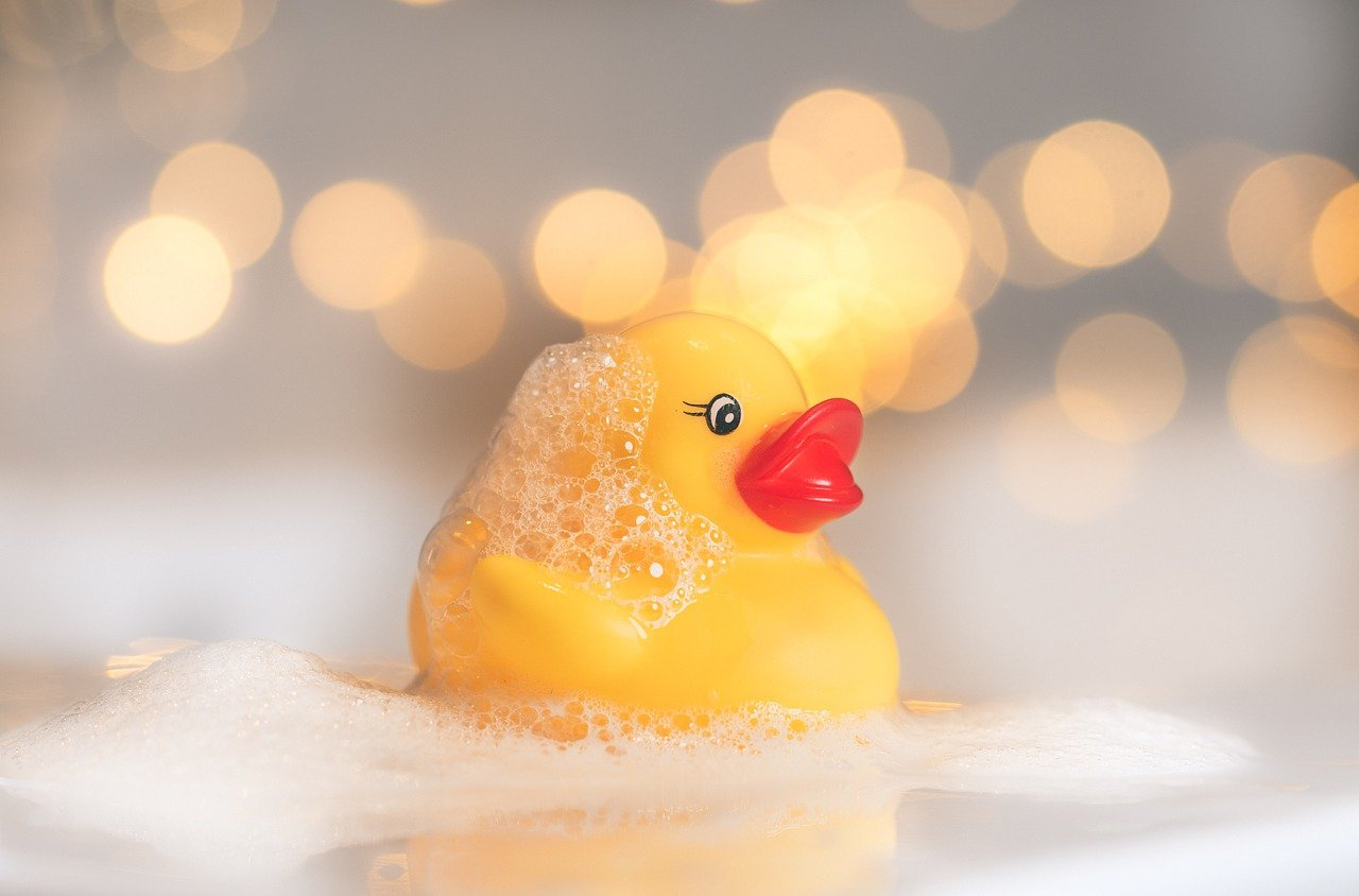 Rubber duck in bubble bath